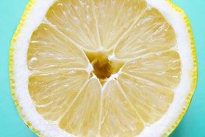 Opened lemon isolated on a blue
