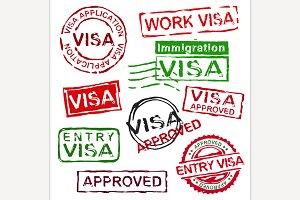 Grunge rubber visa stamps