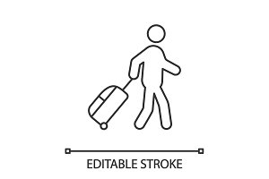 Person with baggage linear icon