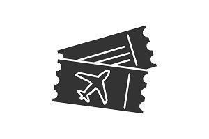 Airplane tickets glyph icon