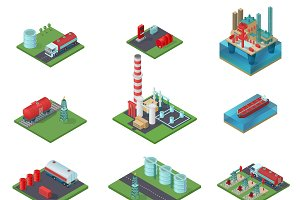 Isometric Oil Industry Set
