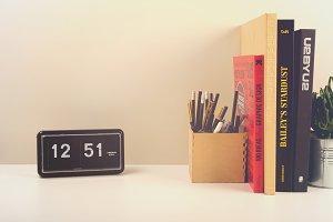 Office desk with flip clock