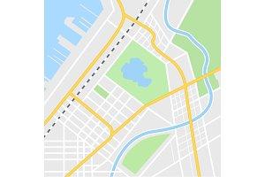 City map illustration for navigation