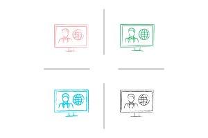 TV news hand drawn icons set