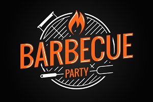 Barbecue grill logo on background.