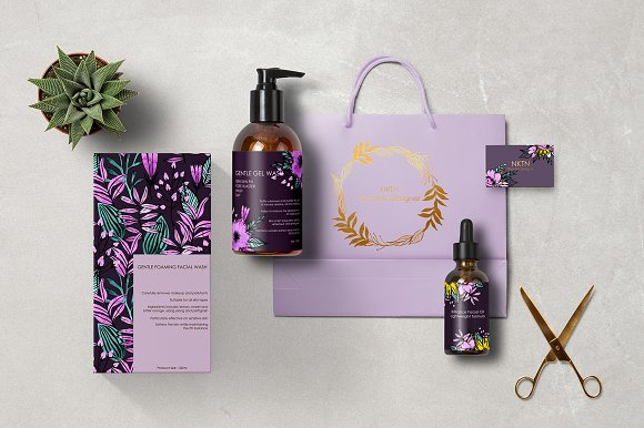 Watercolor Violet Flower Set in Illustrations - product preview 3