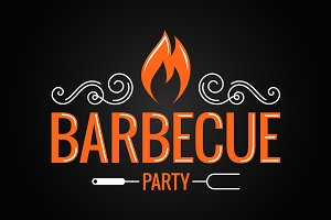 Barbecue party vintage logo.
