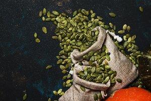 Raw pumpkin seeds in canvas bag, foo