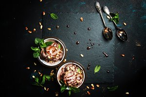 Chocolate ice cream with nuts, dark
