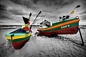 Colorful boats on the beach, Sopot