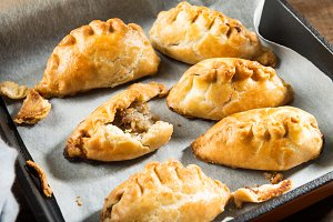 Hot pasties from butter enriched puf
