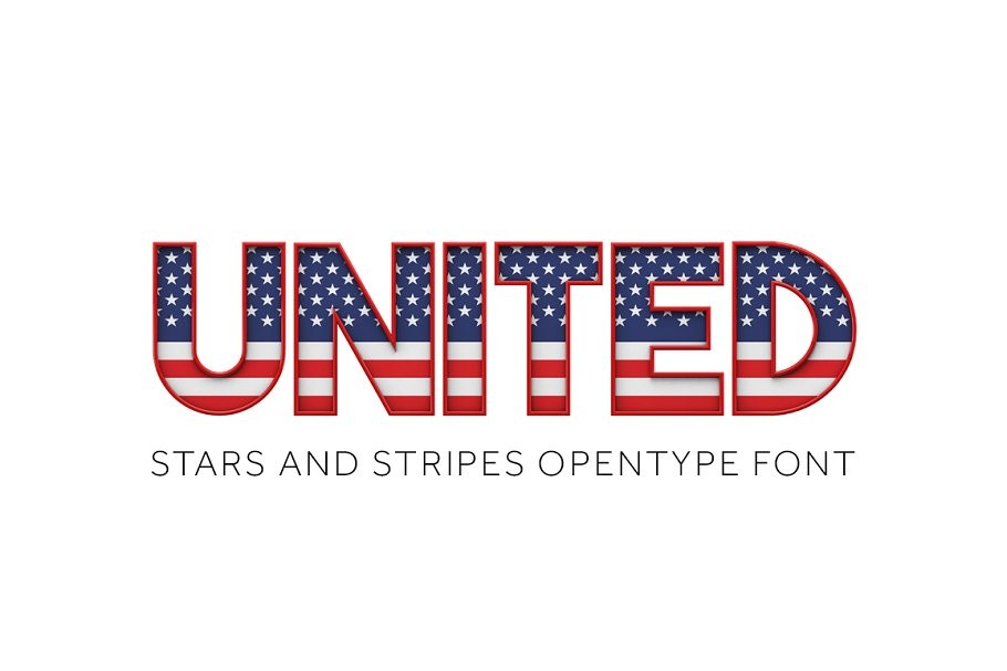UNITED - STARS & STRIPES COLOR FONT