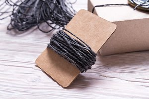 Waxed linen cord for gift wrapping
