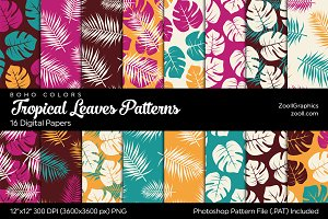 Tropical Leaves Digital Papers Boho