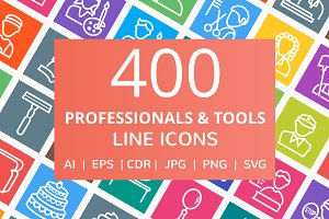 400 Professionals & Tools Line Icons
