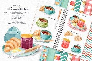 Watercolor Breakfast Coffee Set.