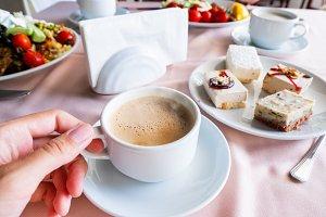 Breakfast in cafe, coffee, dessert