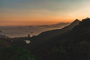Hong Kong islands mountains sunset