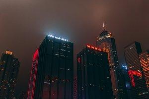 Hong Kong moody skyline at night