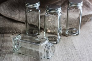 Glass Jars on Wood