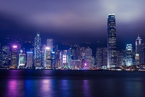 Hong Kong skyline at night lights