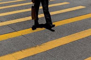 Hong Kong man crossing road