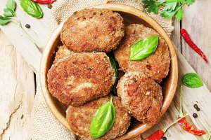 Homemade pork-beef cutlets or meatba