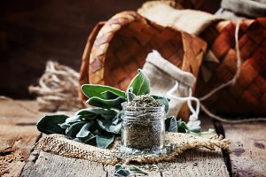 Dried and fresh sage, rustic style,