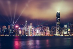 Hong Kong skyline on moody night