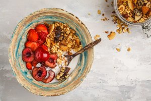 Homemade granola with coconut yogurt