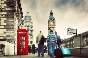 Telephone booth & Big Ben, London