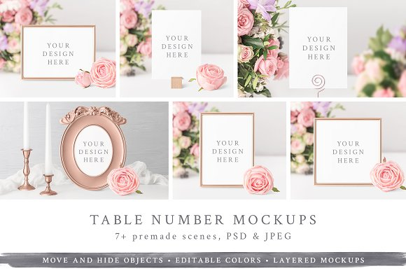 Wedding Table Number Frame Mockups Product Mockups Creative Market