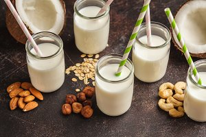Vegan alternative nut milk in glass