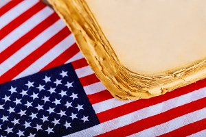 American flag wooden background.