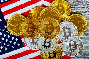 Coin bitcoin on the American flag