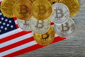 Bitcoin on the Flag of USA.