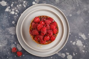 Homemade pancakes with raspberries