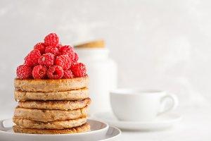Vegan pancakes with raspberries