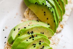 toast with fresh avocado on