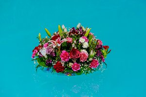 Flower bouquet at swimming pool