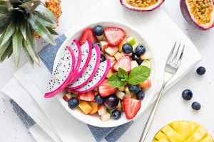 Fruit salad with dragon fruit