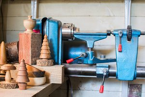 Old wood lathe, turned wooden toys
