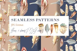 Seamless feather pattern+BONUS