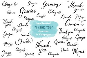 Thank you hand lettered clipart