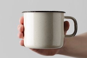 White Enamel Mug Mock-Up