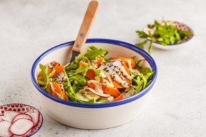 Vegan salad with sweet potato