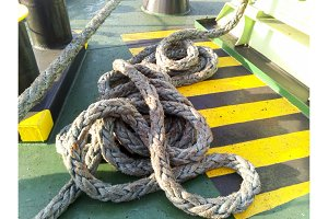 The sea rope on the deck of the ship
