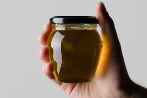 Honey Jar Mock-Up - Hands Holding
