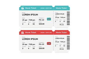 Realistic modern cinema tickets