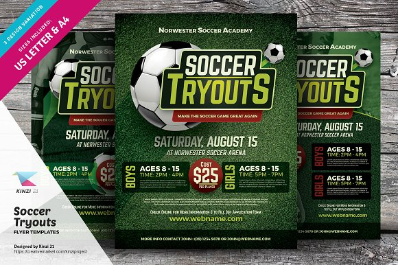 soccer tryouts flyer templates flyer templates creative market